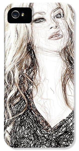 Shakira - Pencil Art IPhone 5 Case by Raina Shah