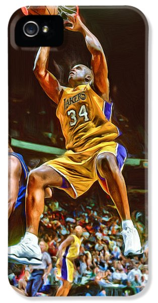 Shaquille O'neal Los Angeles Lakers Oil Art IPhone 5 Case by Joe Hamilton