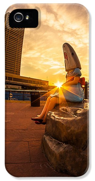 Shark Girl Dawn - Square IPhone 5 Case by Chris Bordeleau