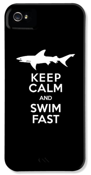 Shark Keep Calm And Swim Fast IPhone 5 Case by Antique Images
