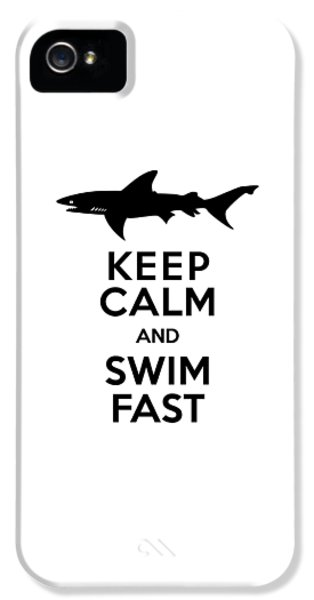 Sharks Keep Calm And Swim Fast IPhone 5 Case by Antique Images