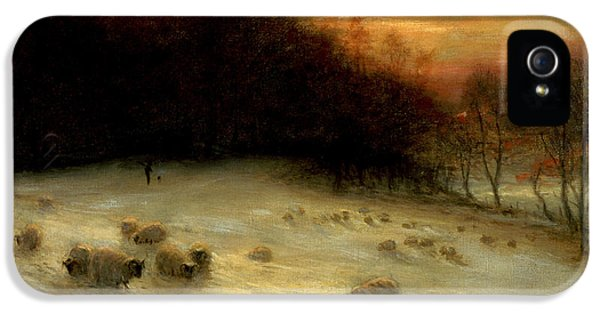 Sheep In A Winter Landscape Evening IPhone 5 Case by Joseph Farquharson