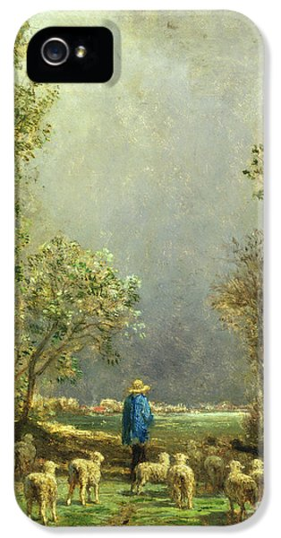 Sheep Watching A Storm IPhone 5 Case by Constant-Emile Troyon