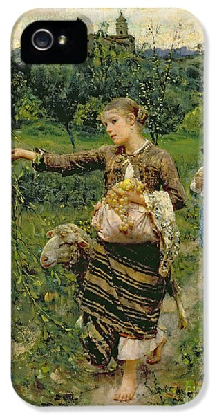 Rural Scenes iPhone 5 Case - Shepherdess Carrying A Bunch Of Grapes by Francesco Paolo Michetti