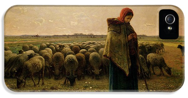 Rural Scenes iPhone 5 Case - Shepherdess With Her Flock by Jean Francois Millet