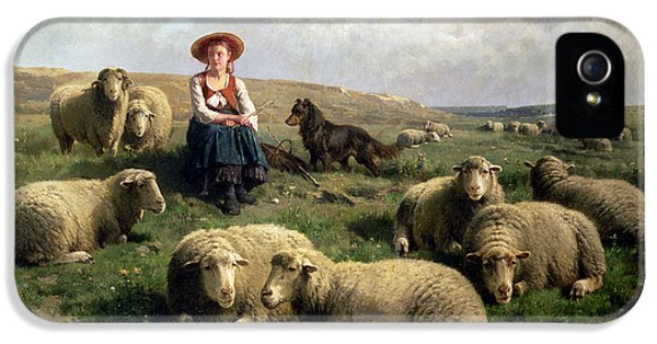 Rural Scenes iPhone 5 Case - Shepherdess With Sheep In A Landscape by C Leemputten and T Gerard