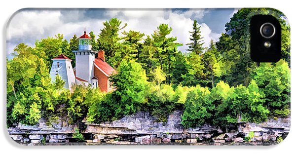 IPhone 5 Case featuring the painting Sherwood Point Lighthouse by Christopher Arndt
