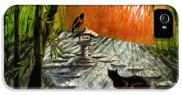 Black Cat iPhone 5 Cases - Shinto Lantern at Dusk iPhone 5 Case by Laura Iverson