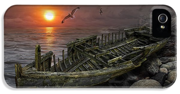 Shipwreck At Sunset IPhone 5 Case by Randall Nyhof