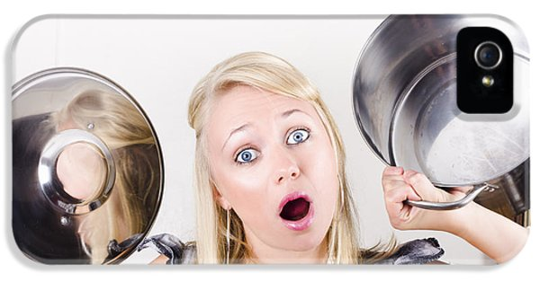 Shocked Caucasian Woman Holding Empty Cooking Pot IPhone 5 Case