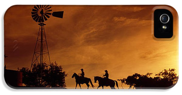Silhouette Of Two Horse Riders IPhone 5 Case by Panoramic Images