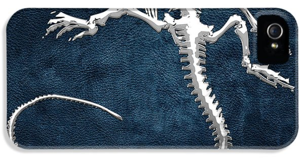 Design iPhone 5 Case - Silver Iguana Skeleton On Blue Silver Iguana Skeleton On Blue  by Serge Averbukh