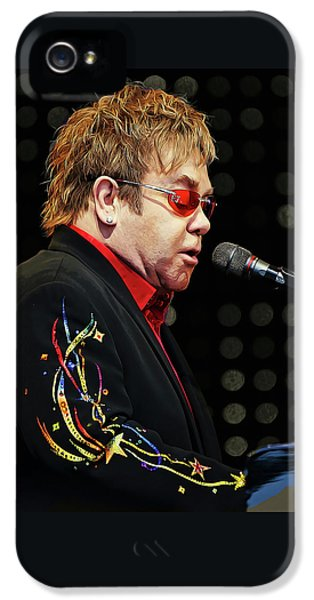 Sir Elton John At The Piano IPhone 5 Case by Elaine Plesser