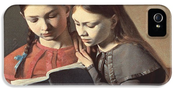 Sisters Reading A Book IPhone 5 Case by Carl Hansen