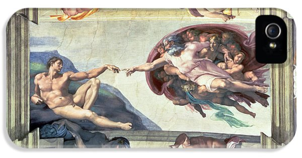 Sistine Chapel Ceiling Creation Of Adam IPhone 5 Case by Michelangelo