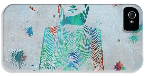 Breathe iPhone 5 Case - Sitting Buddha Paint Splatter by Dan Sproul