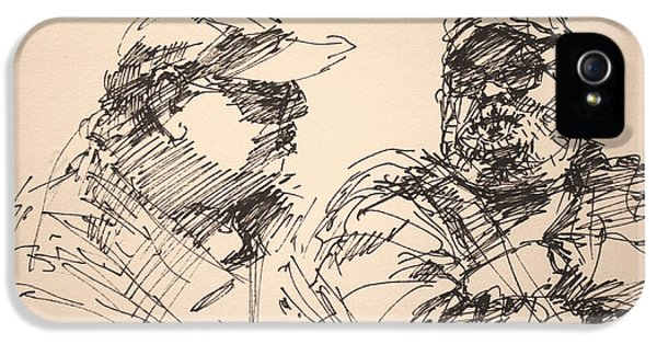 Pencil Drawing iPhone 5 Case - Sketch Men At Tims by Ylli Haruni