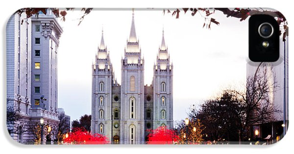 Slc iPhone 5 Cases - SLC Temple Red and White iPhone 5 Case by La Rae  Roberts