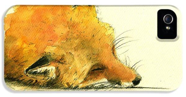Sleeping Fox IPhone 5 Case by Juan  Bosco