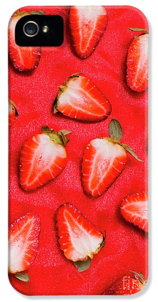 Sliced Red Strawberry Background IPhone 5 Case by Jorgo Photography - Wall Art Gallery