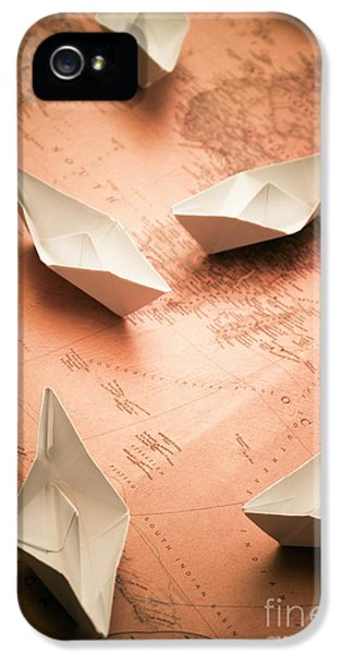 Small Paper Boats On Top Of Old Map IPhone 5 Case