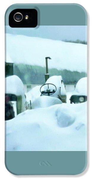 Oliver Tractor iPhone 5 Case - Snowy Farm by Jenn Teel