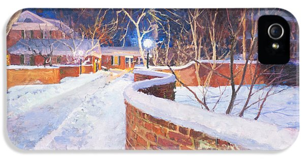 Thomas Jefferson iPhone 5 Case - Snowy Night At The Serpentine Wall by Edward Thomas