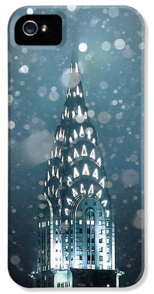 Chrysler Building iPhone 5 Case - Snowy Spires by Az Jackson