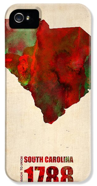South Carolina Watercolor Map IPhone 5 Case by Naxart Studio