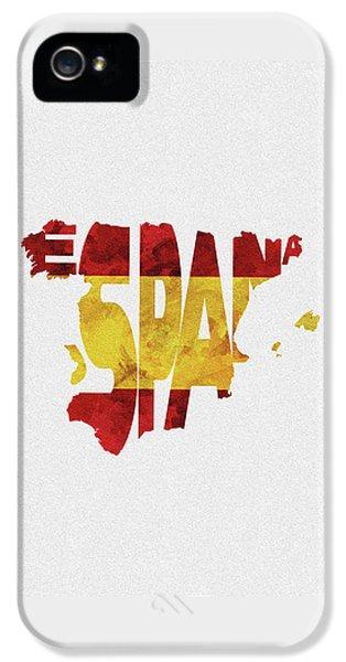 Spain Typographic Map Flag IPhone 5 Case