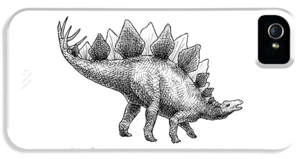 Spike The Stegosaurus - Black And White Dinosaur Drawing IPhone 5 Case by Karen Whitworth