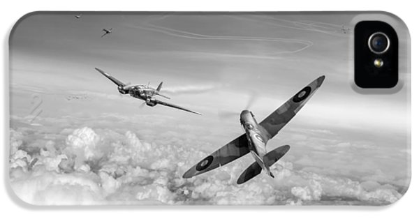 IPhone 5 Case featuring the photograph Spitfire Attacking Heinkel Bomber Black And White Version by Gary Eason