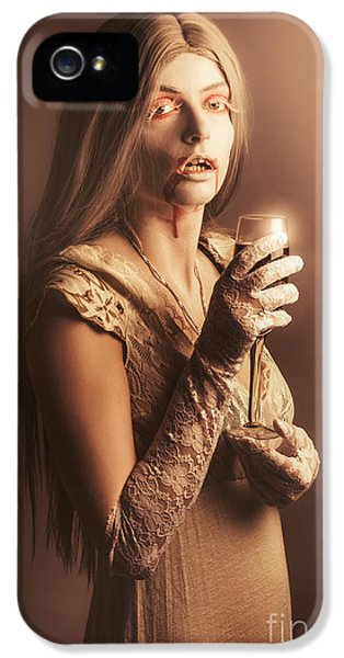 Spooky Vampire Girl Drinking A Glass Of Red Wine IPhone 5 Case