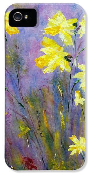 IPhone 5 Case featuring the painting Spring Daffodils by Claire Bull