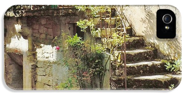 Stairway With Flowers Flavigny France IPhone 5 Case by Marilyn Dunlap