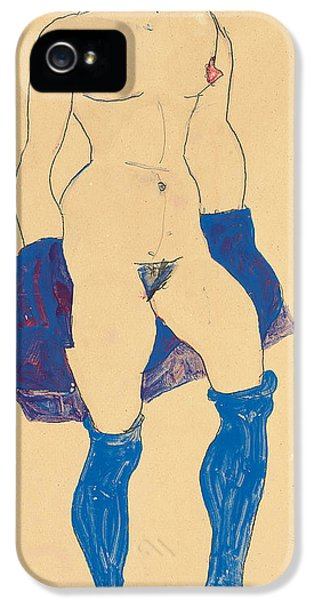 Standing Woman With Shoes And Stockings IPhone 5 / 5s Case by Egon Schiele