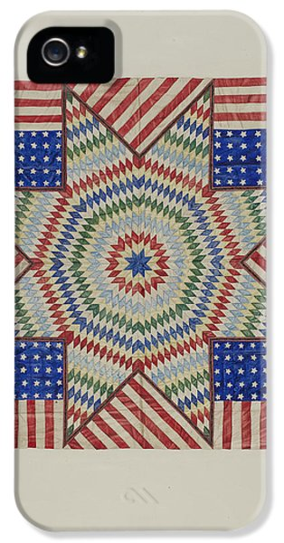 Star And Flag Design Quilt IPhone 5 Case by Fred Hassebrock