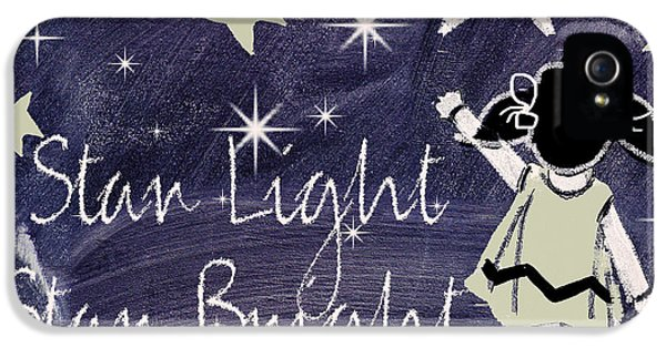 Star Light Star Bright Chalk Board Nursery Rhyme IPhone 5 Case by Mindy Sommers