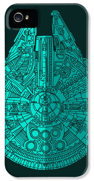 Falcon iPhone 5 Case - Star Wars Art - Millennium Falcon - Blue 02 by Studio Grafiikka