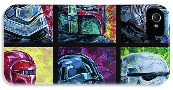 IPhone 5 Case featuring the painting Star Wars Helmet Series - Collage by Aaron Spong
