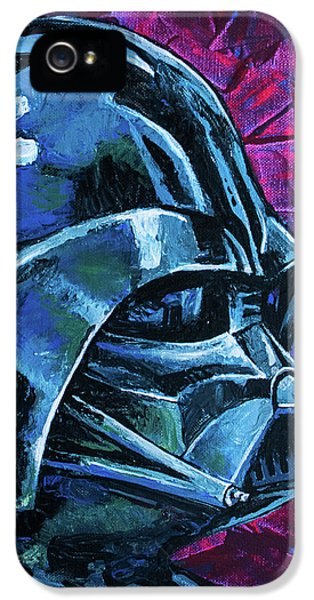 IPhone 5 Case featuring the painting Star Wars Helmet Series - Darth Vader by Aaron Spong