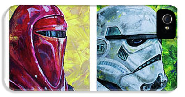 IPhone 5 Case featuring the painting Star Wars Helmet Series - Panorama by Aaron Spong