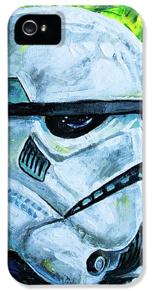 IPhone 5 Case featuring the painting Star Wars Helmet Series - Storm Trooper by Aaron Spong