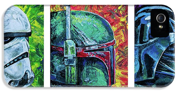 IPhone 5 Case featuring the painting Star Wars Helmet Series - Triptych by Aaron Spong