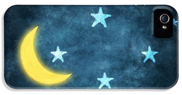 Moon iPhone 5 Case - Stars And Moon Drawing With Chalk by Setsiri Silapasuwanchai