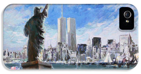 Statue Of Liberty And Tween Towers IPhone 5 Case by Ylli Haruni