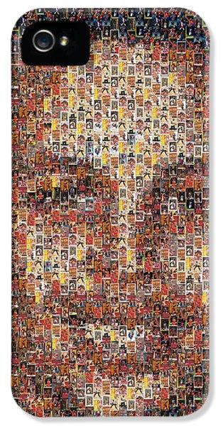 Stephen Curry Michael Jordan Card Mosaic IPhone 5 Case by Paul Van Scott