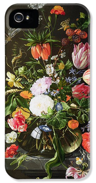 Still Life Of Flowers IPhone 5 / 5s Case by Jan Davidsz de Heem