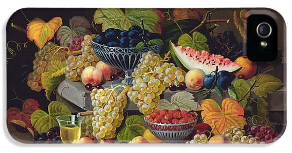 Still Life Of Melon Plums Grapes Cherries Strawberries On Stone Ledge IPhone 5 Case