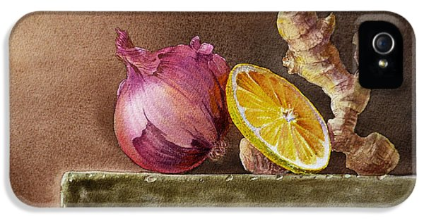 Still Life With Onion Lemon And Ginger IPhone 5 / 5s Case by Irina Sztukowski